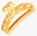 """Luxury Accessories:Accessories, Chanel Gold CC & Chain Motif Hairclip. ExcellentCondition. 3"""" Width x 1.5"""" Height x .5"""" Depth. ..."""