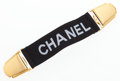 "Luxury Accessories:Accessories, Chanel Black Elastic Canvas Collar Clip. Very Good Condition. 5.5"" Width x 1"" Height. ..."