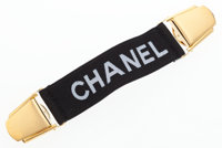 """Chanel Black Elastic Canvas Collar Clip Very Good Condition 5.5"""" Width x 1"""" Height"""