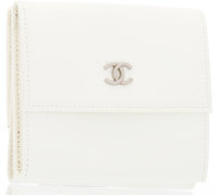 "Chanel White Patent Leather Wallet with Silver Hardware Very Good to Excellent Condition 4"" Width"