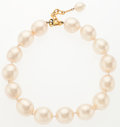 "Luxury Accessories:Accessories, Chanel Glass Pearl Necklace with Gold Hardware. Very Good Condition. 16.5"" Length. ..."