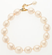 "Chanel Glass Pearl Necklace with Gold Hardware Very Good Condition 16.5"" Length"