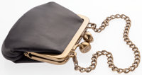 "Chanel Black Leather Coin Purse With Gold Hardware Very Good 3"" Width x 2"" Height x .5"" Depth"