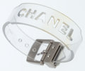 "Luxury Accessories:Accessories, Chanel Clear Vinyl Bracelet with Silver Hardware. Good to Very Good Condition. 8.5"" Length x .5"" Height. ..."