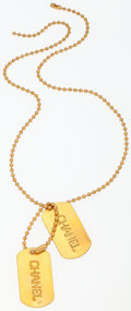 "Luxury Accessories:Accessories, Chanel Gold Double Dogtag Charm Necklace. Very GoodCondition. 24"" Length. ..."