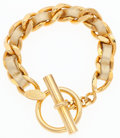"Luxury Accessories:Accessories, Chanel Metallic Gold Leather & Gold Chain Bracelet.Excellent Condition. 7.5"" Length x .5"" Height. ..."