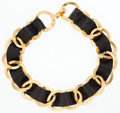 "Luxury Accessories:Accessories, Chanel Black Lambskin Leather Necklace with Gold Hardware.Excellent Condition. 16"" Length x 1"" Height. ..."