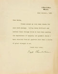Autographs:Statesmen, [World War II]. Neville Chamberlain. Typed Letter with PrintedSignature. Dated October 21, 1938. ...