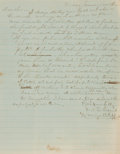 Books:Americana & American History, [Civil War]. Confederate Manuscript Letter Requesting Fodder forHorses. Dated January, 1863. ...