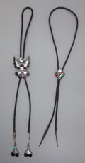 American Indian Art:Jewelry and Silverwork, Two Zuni Silver and Stone Bolo Ties... (Total: 2 )