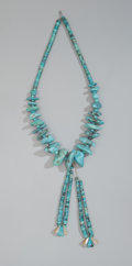 American Indian Art:Jewelry and Silverwork, A Pueblo Turquoise and Shell Necklace...