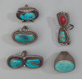 American Indian Art:Jewelry and Silverwork, Five Navajo Silver and Stone Rings... (Total: 5 )