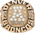 Football Collectibles:Others, 1986 Denver Broncos AFC Championship Prototype Ring....