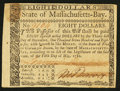 Colonial Notes:Massachusetts, Massachusetts May 5, 1780 $8 Pen Cancelled Extremely Fine.. ...