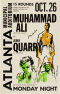 Boxing Collectibles:Memorabilia, 1970 Muhammad Ali vs. Jerry Quarry On-Site Boxing Poster (Signed by Ali), Mounted on Board....
