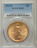 Saint-Gaudens Double Eagles: , 1911-D $20 MS65 PCGS. PCGS Population (1912/509). NGC Census: (1894/549). Mintage: 846,500. Numismedia Wsl. Price for probl...
