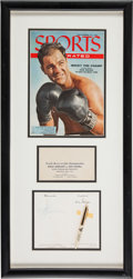 Boxing Collectibles:Memorabilia, 1950's Rocky Marciano Signed Autograph Display with Pen....