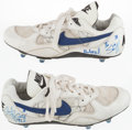 Football Collectibles:Others, 1994 Stanley Richard Game Worn, Signed San Diego Chargers Cleats....