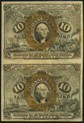 Fractional Currency:Second Issue, Fr. 1246 10¢ Second Issue Vertical Pair Extremely Fine.. ...