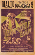 "Movie Posters:Horror, The Invisible Man (Universal, 1933). Window Card (14"" X 22"").. ..."