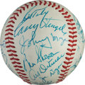 Baseball Collectibles:Balls, 1970's New York Yankees Old-Timers' Day Multi Signed Baseball....