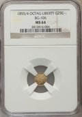 California Fractional Gold , 1855/4 25C Liberty Octagonal 25 Cents, BG-106, R.3 MS64 NGC. NGCCensus: (18/15). PCGS Population (37/13). ...