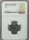Ancients:Roman Provincial , Ancients: CORINTHIA. Corinth. Augustus (27 BC-AD 14). AE 21 mm (nowt. given)....
