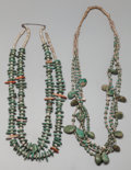 American Indian Art:Jewelry and Silverwork, Two Pueblo Turquoise and Shell Necklaces. c. 1920 and 1950...(Total: 2 )