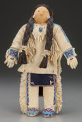 American Indian Art:Beadwork and Quillwork, A Plateau Beaded Hide Male Doll...