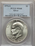 Eisenhower Dollars, 1976-S $1 Silver MS68 PCGS. PCGS Population (716/0). NGC Census: (73/0). Mintage: 11,000,000. Numismedia Wsl. Price for pro...