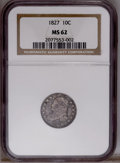 Bust Dimes: , 1827 10C MS62 NGC. JR-11, R.2. Deep dove-gray and forest-greentoning envelops this undisturbed Capped Bust dime. Refreshin...