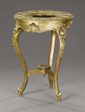 Furniture : French, A Vienna, Austrian Giltwood Table. Circa 1850-1880. Gilt wood, giltbronze, porcelain with polychrome enamel and gilt de...