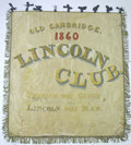 Political:Textile Display (pre-1896), Rare Large 1860 Abraham Lincoln Silk Banner Despite the thousandsof parade banners produced for Lincoln, only a handful hav...