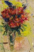 Texas:Early Texas Art - Impressionists, JOSEPHINE MAHAFFEY (1903-1982). Untitled Floral Still Life. Oil andwatercolor on heavy Japanese tissue. 25-1/2 x 20 inches ...