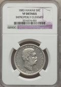 Coins of Hawaii, 1883 50C Hawaii Half Dollar -- Improperly Cleaned -- NGC Details.VF. NGC Census: (5/516). PCGS Population (11/754). Mintag...