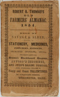 Books:Americana & American History, [Almanacs]. Robert B. Thomas. The Old Farmer's Almanacfor 1854. Worcester, MA: Savage & Albee, [185...