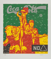 Wang Guangyi (Chinese, b. 1957) Coca Cola (Red) Lithograph in colors on wove paper 29-1/2 x 26-1/