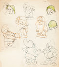 animation art:Model Sheet, Snow White and the Seven Dwarfs Hand-Drawn Model Sheet of Sleepy and Doc (Walt Disney, 1937)....