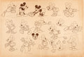 animation art:Model Sheet, Puppy Love (attributed) Mickey Mouse and Minnie Mouse StudioModel Sheet (Walt Disney, 1933)....