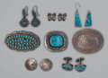American Indian Art:Jewelry and Silverwork, Eight Zuni/Navajo Silver Jewelry Items. c. 1940 - 1960... (Total: 8)