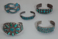 American Indian Art:Jewelry and Silverwork, Five Zuni/Navajo Silver and Turquoise Bracelets. c. 1930 - 1960...(Total: 5 )