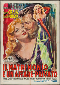 "Marriage is a Private Affair (MGM, 1940s). First Post-War Release Italian 2 - Foglio (39"" X 55""). Comedy"