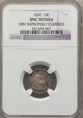Seated Dimes, 1850 10C -- Obverse Improperly Cleaned -- NGC Details. Unc. NGCCensus: (2/88). PCGS Population (5/74). Mintage: 1,931,500....