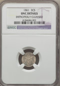 Three Cent Silver, 1861 3CS -- Improperly Cleaned -- NGC Details. Unc. NGC Census: (7/641). PCGS Population (12/701). Mintage: 497,000. Numism...