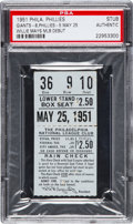 Baseball Collectibles:Tickets, 1951 Willie Mays Major League Debut Ticket Stub, PSA Authentic. ...