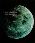 Explorers:Space Exploration, Apollo 8 Large Color Moon Photo Taken During Transearth CoastSigned by Walt Cunningham and Originally from His Personal Colle...