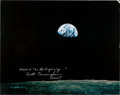 """Explorers:Space Exploration, Apollo 8 """"Earthrise II"""" Large Color Photo Signed by Walt Cunninghamand Originally from His Personal Collection. ..."""