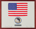Explorers:Space Exploration, Apollo 12 Flown Large American Flag on a Crew-Signed Mat in aFramed Display, Originally from the Personal Collection of Lunar...