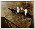 Autographs:Celebrities, Buzz Aldrin Signed Large Apollo 11 Lunar Surface Color Photo....