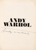 Books:Art & Architecture, Andy Warhol. SIGNED/ DELUXE. Andy Warhol. [Exhibition Cataloguefrom the Andy Warhol Exhibition, Moderna Museet, Stockho...
